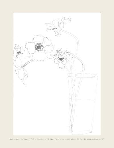 Zeichnung Anemonen in Vase