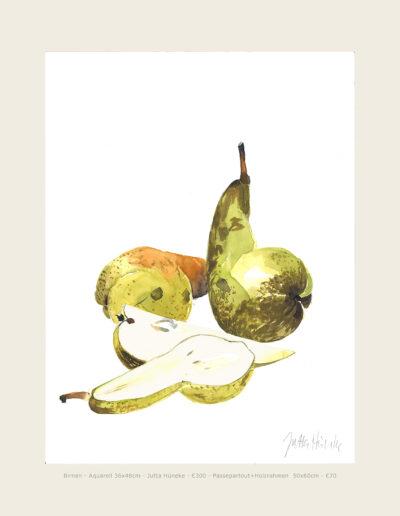 Aquarell Birnen 1, Stillleben, liegenden Birnen, Illustration