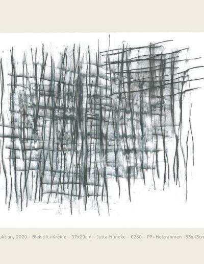 Zeichnung Konstruktion, abstrakte Bleistiftzeichnung und Mischtechnik Kreide, Struktur