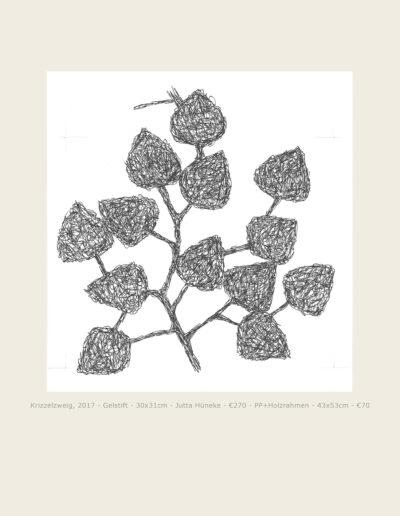 Zeichnung Krizzelzweig, Gelstift auf Papier, freies Blattmotiv, Zweig mit Blättern Drawing Tizzle branch, gel pen on paper, free leaf motif, branch with leaves