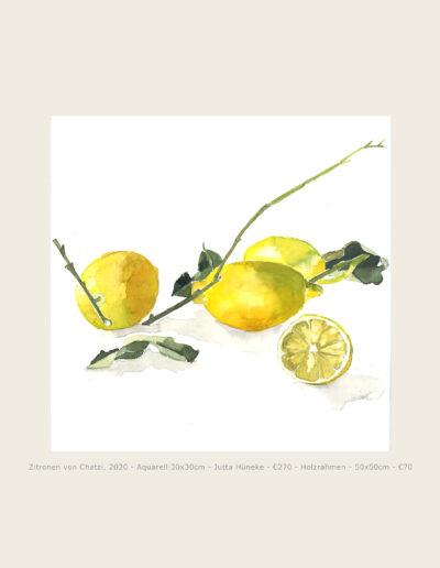 Aquarell, drei Zitronen, aufgeschnittene Zitronenhälfte, Illustration, Watercolour, Lemons with Twig , half lemon, sliced lemon